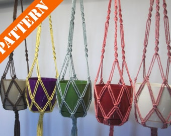 PATTERN! Macrame plant hanger. Hanging planter. Flowerpot hanger. DOWNLOAD