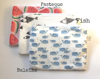 Clutch - Zipper Bag- Snack - Reusible Bag- Sandwich Bag- Lunch Box -Make up Bag -