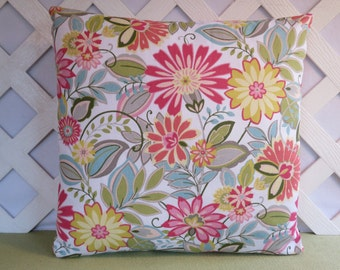 Floral Pillow Cover in Rose Coral Yellow Blue Green / Rose Coral Yellow Pillow / Spring Pillow / Accent Pillow / 18 x 18 Pillow