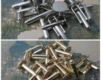 Lot of 8 Cuff Link Blanks - Silver or Brass
