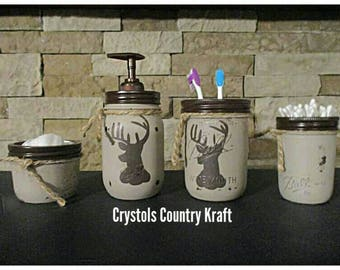 Deer Decor Bathroom Set, Deer Soap Jar, Deer Toothbrush Jar, Deer Storage  Jars. Mason Jar Decor, Cabin Decor, Rustic Bathroom, Deer Bathroom