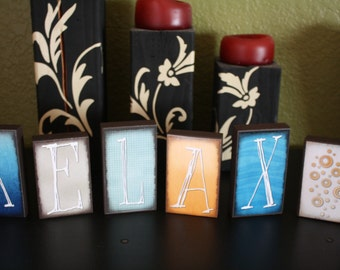 """RELAX Block Set- Set of 6- Blocks are roughly 4"""" and 4.5"""" tall"""