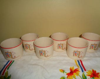 Vintage Universal Pottery USA set of six KITSCHY Custards cups Free Shipping
