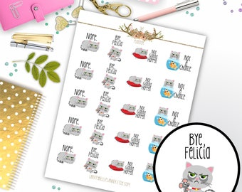 Unhappy Kitty Cat Quote Functional Planner Stickers for Erin Condren, Plum Paper, Recollections, and Happy Planner Planners(045)