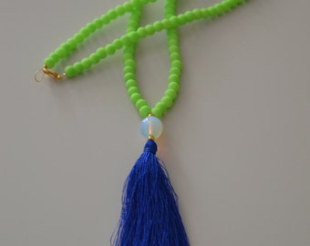 Long Beaded Necklace - Neon Lime necklace - Neon Lime Tassel Necklace - Cobalt Blue Tassel Necklace - Summer Necklace - Jade Necklace