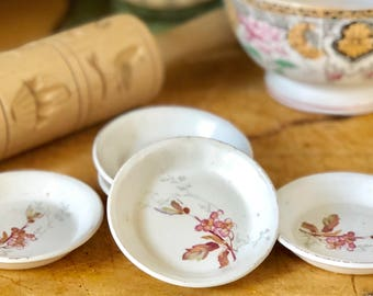 5 Antique Ironstone or Semi-Porcelain Butter Pats, Transferware, Ironstone, Pink Transferware Pattern, Set of Five Matching Ironstone Butter
