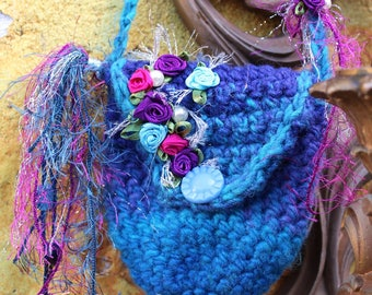 Amulet Bag - Medicine bag - Treasure keeper - Hand Crochet Necklace Pouch - Crystal Keeper - Festival Fashion by White Raven Designs