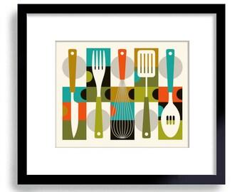 Mid Century Modern Kitchen Decor Kitchen Gift Contemporary Design Colorful Kitchen Kitchen Art Cooking Utensils Cooking Gift Favorite Recipe
