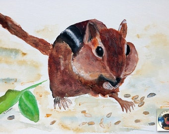 Chipmunk Watercolor Painting Original 9x12 Fine Art Small Brown Animal Contemporary woodland animal painting wall decor for nursery