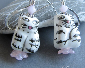 Porcelain Tuxedo Kitty  Cat Earrings by Cornerstoregoddess