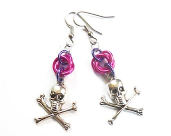 Skull and crossbones earrings, Pink and purple, Aluminum chainmaille jewelry, Gothic earrings