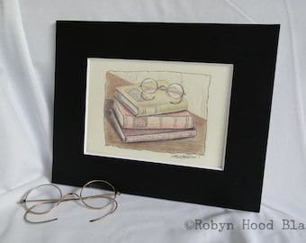 Vintage Books with Reading Glasses print - Matted to 8 X 10