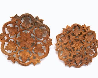 """Pair of Carved Wooden Trivets with Ornate Floral & Leaf Motifs (6"""" and 5.25"""" Diameter)"""