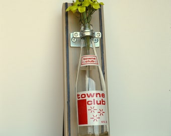 Reclaimed Wooden Wall Vase w/Vintage Towne Club Bottle  6404 Woodward Ave