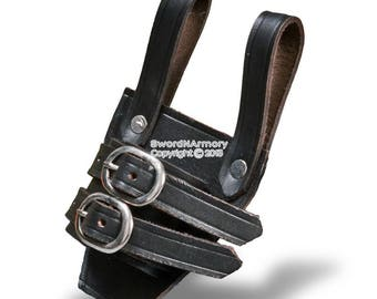 Medieval Genuine Quality Leather Vertical Belt Frog With Adjustable Strap