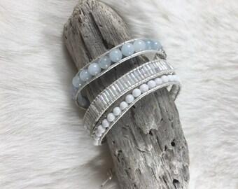 Aquamarine Triple wrap Wrap Bracelet - semi-precious stones / White mountain Jade