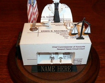 Business Card Sculpture Lawyer, Attorney or Judge-Barrister at desk. With USA flag  Any Theme, Hobby, Sport or Profession NO. 8994