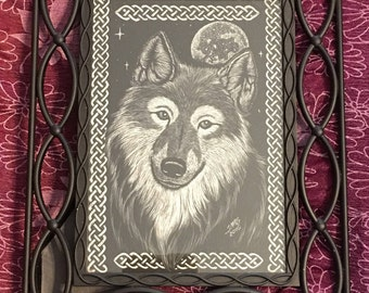 Celtic Wolf and Moon Original Scratchboard--Wolf Clayboard--Dog Scratchboard--Handmade Wolf and Moon Scratchboard--Celtic Knotwork