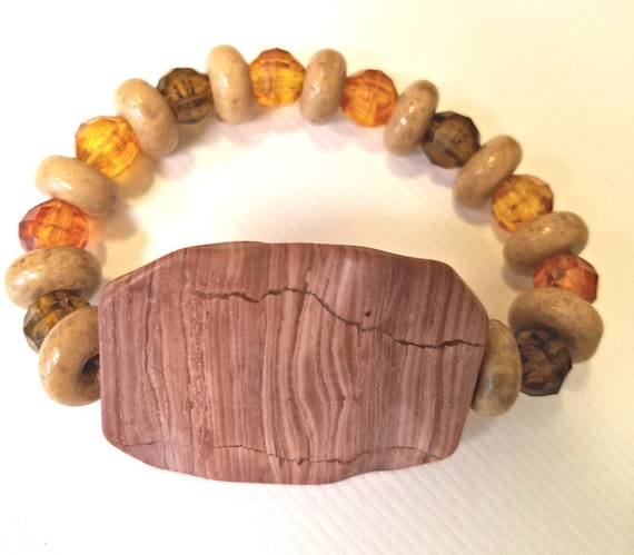 natural brown large stone bracelet beaded stretch plastic wood beads gemstone handmade jewelry