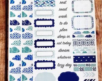 MINT SKY Personal Weekly Sticker Kit, Planner Stickers, Sticker Kit Sized for Erin Condren Life Planner
