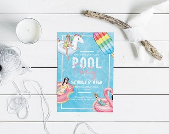 Pool Party Invitation // Girls Party Invitation // Digital Invitation // Summer Party // Custom Invitation