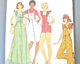 Spring Sale Uncut 70s Butterick 4239 Misses' Vintage Sewing Pattern MISSES' JUMPER & OVERALLS jumper straight-legged,  Bias Ruffles Bust 32.