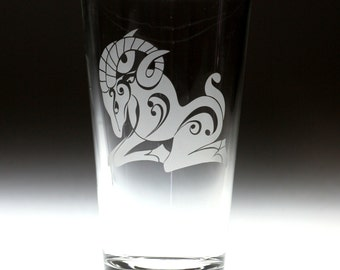 Custom personalized Aries ram astrological horoscope sign engraved glass