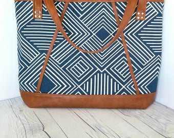 Blue Navy Geometric Print, Brown Faux Leather Bag, Tote, Diaper, Beach, Travel, Work, Market, Travel, Laptop, Bags, Bag, Handbag, Purse