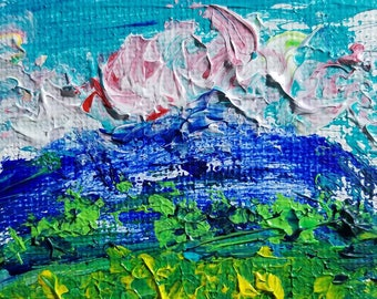 Clouds on the Ridge (Miniature Acrylic Painting with Easel)