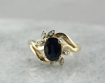 Modern Sapphire and Diamond Ladies Ring with Simple, Elegant Design 7E92PC-P