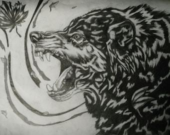 Graphite Wolf (8.5 x 11 print)