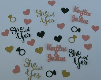 She Said Yes Confetti, Engagement Party Confetti, Bridal Confetti, Engagement Party Decor, Custom Parties by PartyAtYourDoor on Etsy