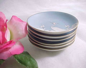 Antique Nippon Butter Pats With Hand Painted White Cranes (6), Vintage Collectible Blue Porcelain Dinnerware With Gold Trim