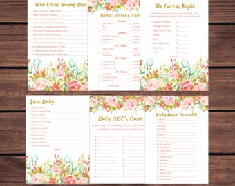 Floral Baby Shower Games Package, What's in Your Purse, Word Scramble,  Baby Shower Games, Pink and Gold Instant Download Printable