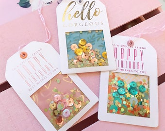 Handmade Gift Tags - Small Shaker Tags with Real Foil & Glitter - 3 Celebration Tags | Gift Wrapping