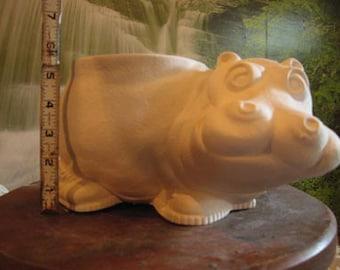 Hippo Pot, Hippopotamus, Flower vase, Flower Planter, Hippopotamus with shoes, Hippo in sneakers, u-paint,Ready to paint,Ceramic bisque