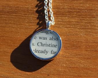 Christine Daae - Phantom of the Opera book page pendant necklace - Gaston Leroux - literary jewelry - book necklace