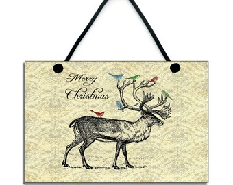 Merry Christmas Traditional Christmas Reindeer Handmade Wooden Christmas Sign/Plaque 025