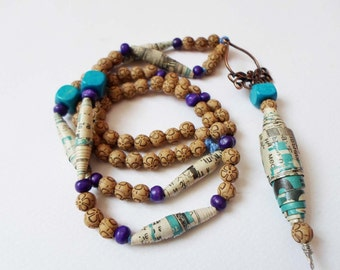 Hand Made Boho Chic Long Necklace, Recycled Paper beads, Bohemian Statement Necklace, Hippie Gipsy OOAK Necklace, Beaded Beach Necklace