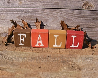 Painted Wood Block Letters Farmhouse Decor Wooden Fall Colors Name Rustic Weathered Distressed