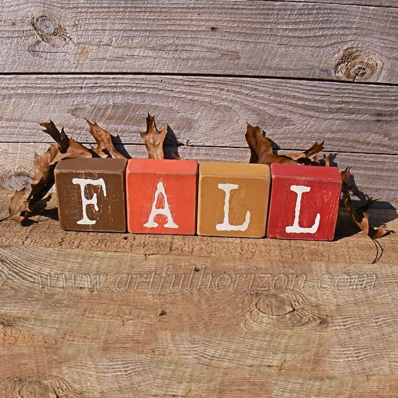 Painted Wood Block Letters Farmhouse Decor Wooden Fall Colors