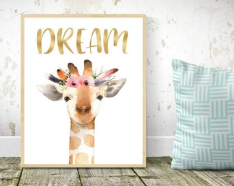 Nursery decor, Pink gold nursery, Baby nursery, Nursery art, Nursery animals, Giraffe nursery, Baby giraffe, Baby wall art, babies room