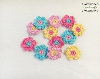 Crochet small flower applique set 12 pc mix color,Crochet trim,Crochet motifs,Embellishments,Attach hair clips,,Attach beanie,Attach blanket