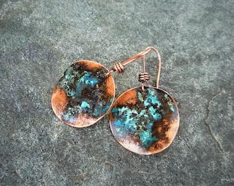 Copper patina earrings, Circle earrings, Verdigris copper, Artisan earrings, Primitive earrings, Rustic earrings, Boho jewelry