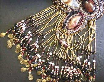 Beaded statement necklace, bead embroidery, handmade, one of a kind, agate cabochon