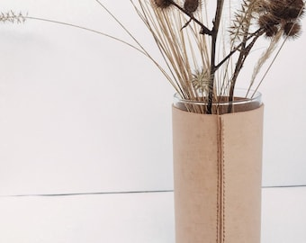 Leather Vase Vessel Small - Natural
