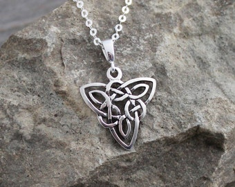 Sterling Silver Celtic Trinity (Triquetra) Knot Necklace; Sterling Silver Celtic Triangular Triangle; Sterling Silver Celtic Necklace