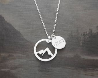 Cirque Of The Towers Necklace, Wyoming Coordinate Necklace, Mountain Necklace, Adventure Necklace, Wanderlust Jewelry