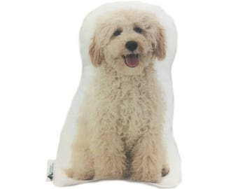 Cream Poodle Shaped Dog Cushion, Add Custom Lettering, Handmade By Creature Comforts Direct, Personalised Dog Gift, Dog Pillow