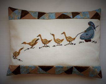 Girl & Geese Cross-stitched Pillow